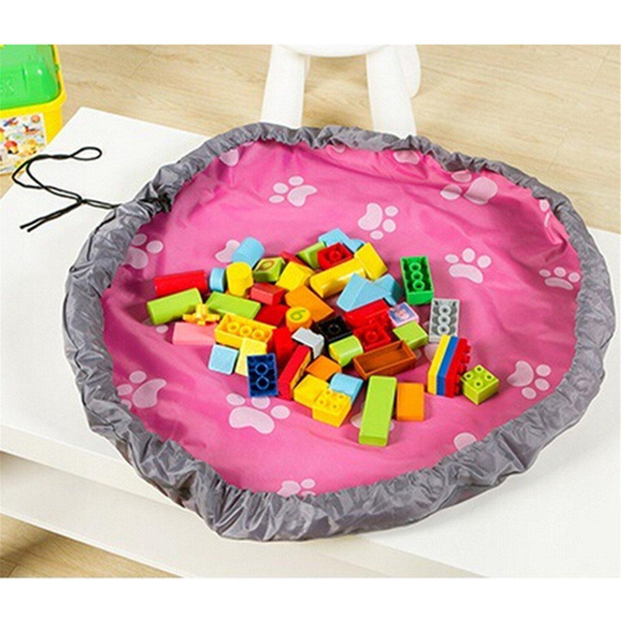 Lalang Tragbare Kinder Aufräumsack Spieldecke Spielzeug Speicher Tasche Aufbewahrung Beutel Spielzeugaufbewahrung (Rose Red) 88_Store