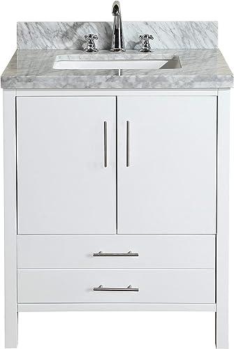 California 30-inch Bathroom Vanity Carrara/White : Includes White Cabinet