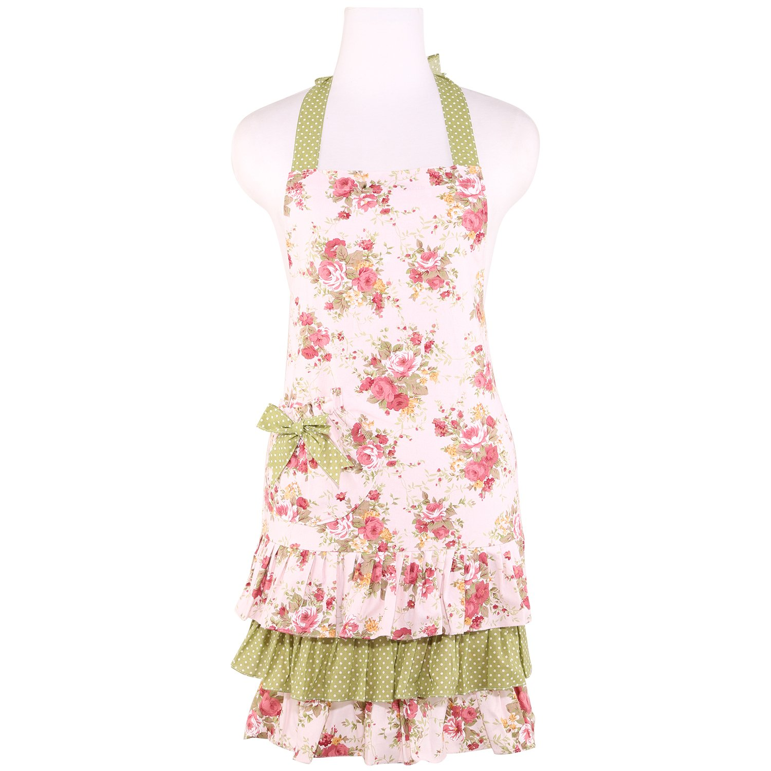 Frilly Kitchen Aprons for Women with Pocket by Neoviva, Style Doris, Floral Quartz Pink