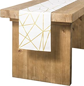 Ling's moment Geometric-Inspired White and Gold Table Runner 12 x 108 Inches for Morden Stylish Wedding Party Holiday Table Setting Decor, 100% Cotton