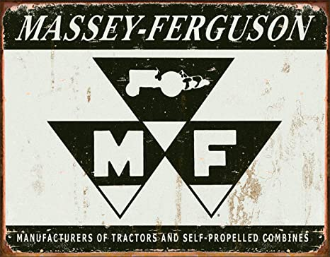 Massey-Ferguson Tractor Combine Logo Distressed Retro Vintage Metal Tin Sign