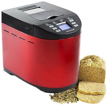 Andrew James - Automático Premium - Panificadora (en rojo - con 12 preprogramaciones funciones, automática ingrediente compartimento y tiempo verzögerungs ...