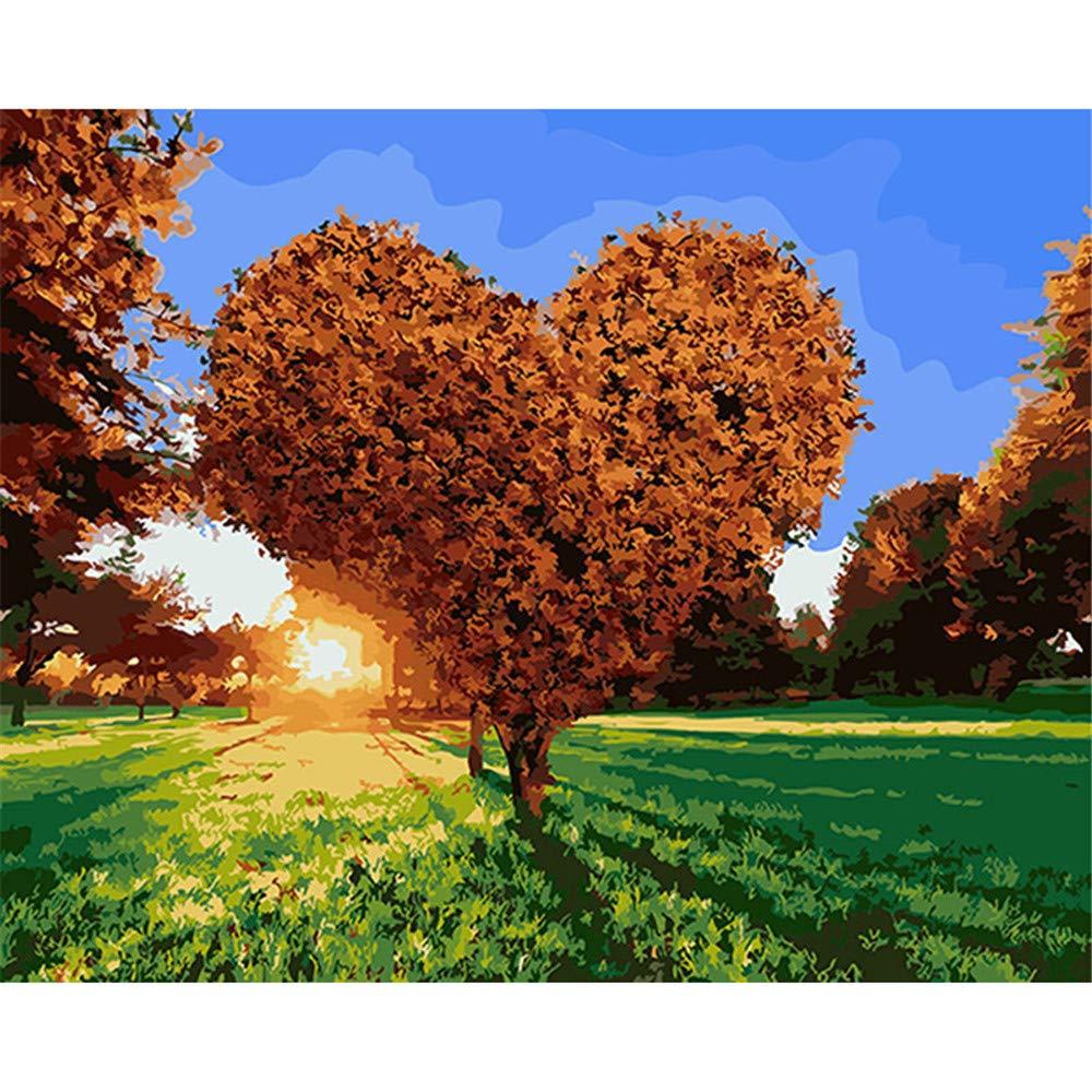 WAZHCY Malen Sie nach Zahlen Geschenk-Herz-Form-Baum-sonnige Wiese für erwachsenes Kind DIY Home Decoration 40X50CM Ohne Rahmen B07PJRCGB2 | Deutschland München