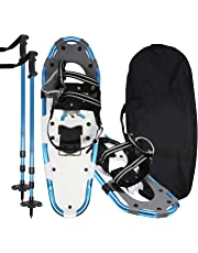 Jolitac Snowshoes Kits w/2 Trekking Poles All Terrain Mountaineering Snow Shoes Anti-Shock Aluminum Alloy Adventure Trail Hiking Snowshoes w/Carrying Bag for Men Women Advanced Users