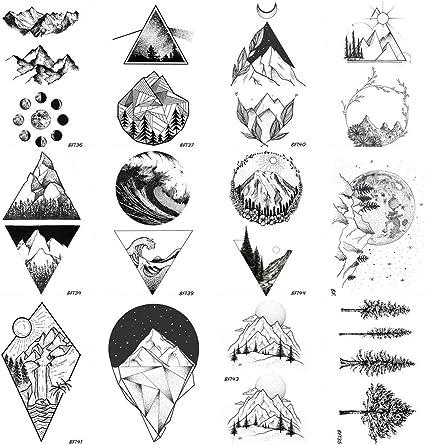 Coktak 12 Pieces Lot Realistic Geometry Triangle Mountain Temporary Tattoos Sticker Cover Women Body Arm Art Drawing Kids Waterproof Fake Black Sea Weave Forest Tatoos Paper Men Custom Sheet 10x6cm Amazon Co Uk Beauty