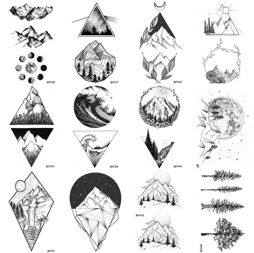 Amazon com 12 pieces lot geometry triangle mountain temporary tattoo sticker cover women body arm art drawing waterproof fake black sea weave tatoos paper