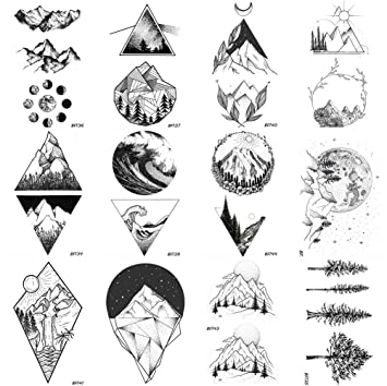 ef9496de6 Amazon.com : 12 Pieces/Lot Geometry Triangle Mountain Temporary Tattoo  Sticker Cover Women Body Arm Art Drawing Waterproof Fake Black Sea Weave  Tatoos Paper ...