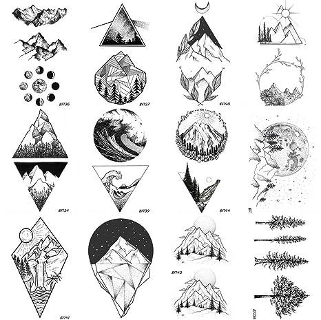COKTAK 12 Feuilles GéOméTrie Triangle Montagne Temporaire