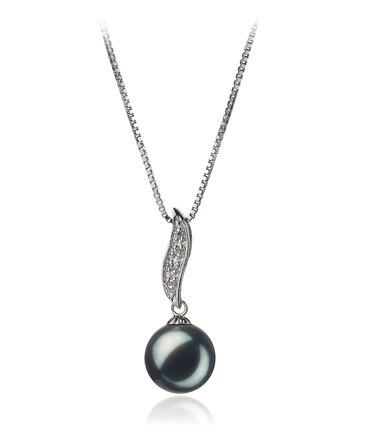 Black 9-10mm AA Quality Freshwater 925 Sterling Silver Cultured Pearl Pendant