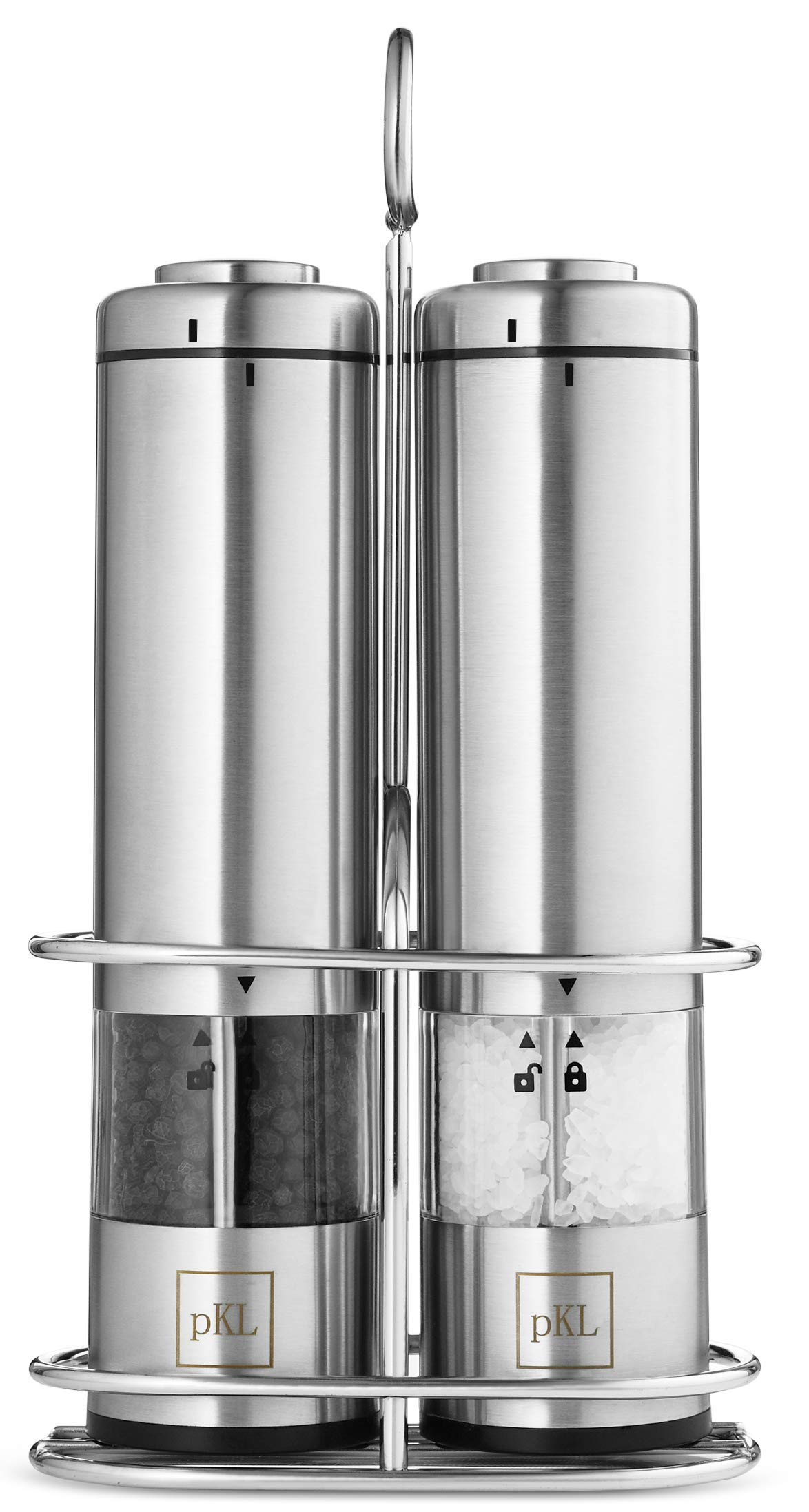 Pro Kitchen Life Battery Operated Salt and Pepper Grinder Set - Pack of 2 Mills - Durable Stainless Steel with Holder Tray - Adjustable Ceramic Coarseness with LED Light and Caps at Bottom by PKL - Pro Kitchen Life