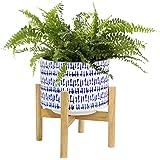La Jolíe Muse keramisk blomkruka med trästativ – H 23 cm modern vit gryta för skrivbord med träväxter för inredning