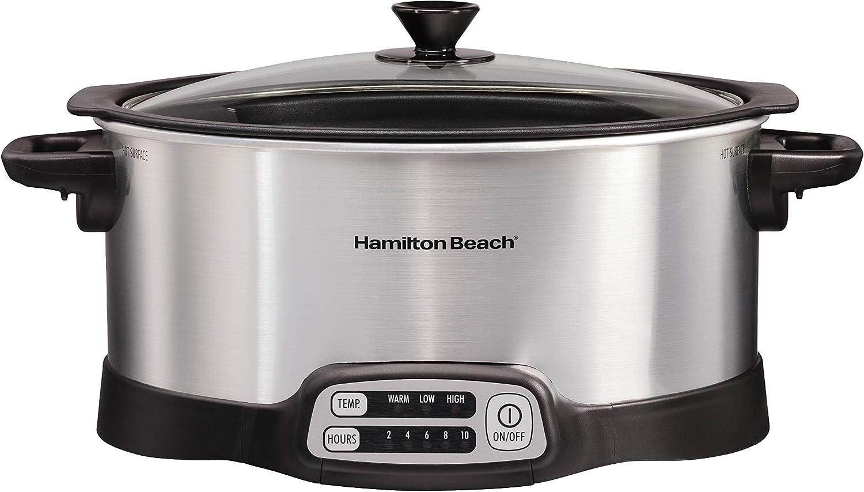 Hamilton Beach Programmable Slow Cooker, Stovetop Sear & Cook, 6 Quarts, Silver (33662), (Renewed)