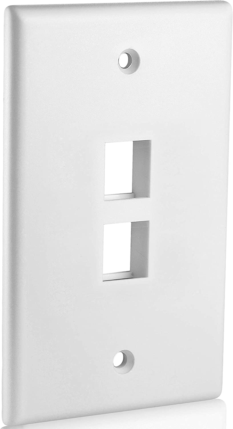 Pack of 3 Keystone Port Single Gang Data Wall Plates White 5