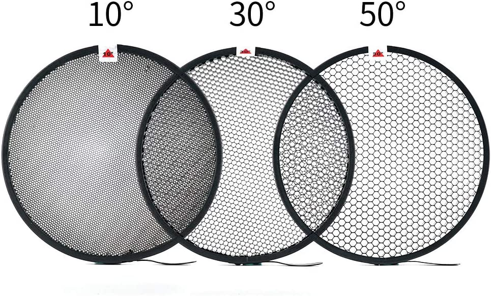 Soonpho Standard Reflector Photography 7inch//18cm Diffuser with 10//30//50 Degree Honecomb Lamp Shade Grid for Bowens Mount Studio Light Strobe