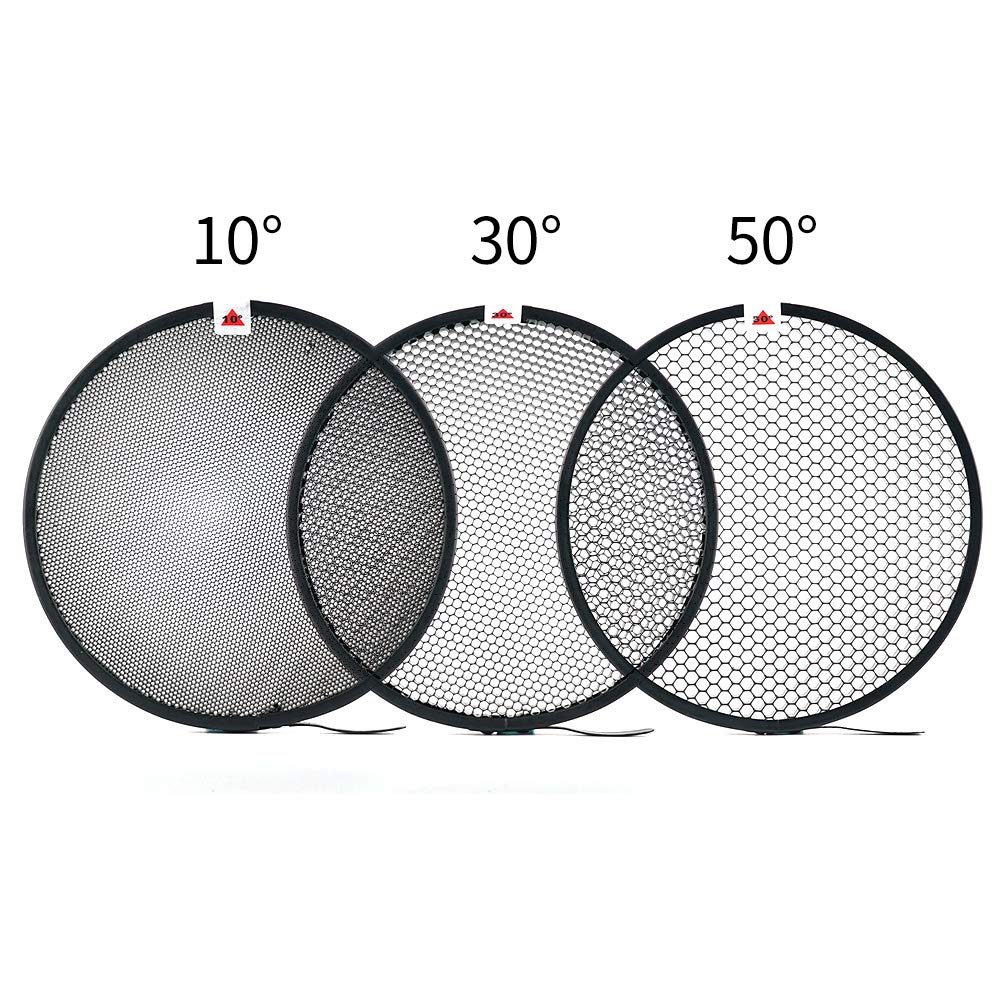 Soonpho 7'' Standard Reflector Diffuser Lamp Shade Dish with 10° /30°/ 50° Degree Honeycomb Grid White Soft Cloth for Bowens Mount Studio Strobe Flash Light Speedlite by soonpho (Image #3)