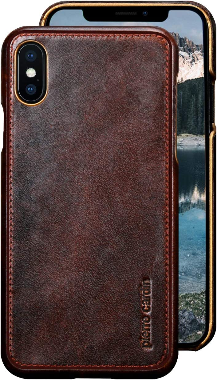 "Pierre Cardin iPhone Xs Leather Case,iPhone X Leather Case, Premium Genuine Cowhide with New Slim Design Snap Hard Back Cover for Apple iPhone X/Xs(5.8""),Dark Brown"