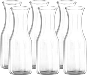 1 Liter Glass Carafe - 6 Pack - Drink Pitcher and Elegant Wine Decanter, Comfortable Grip with Narrow Neck Design, Wide Opening for Easy Pouring - Great for Parties and Events, 34 oz – Kitchen Lux