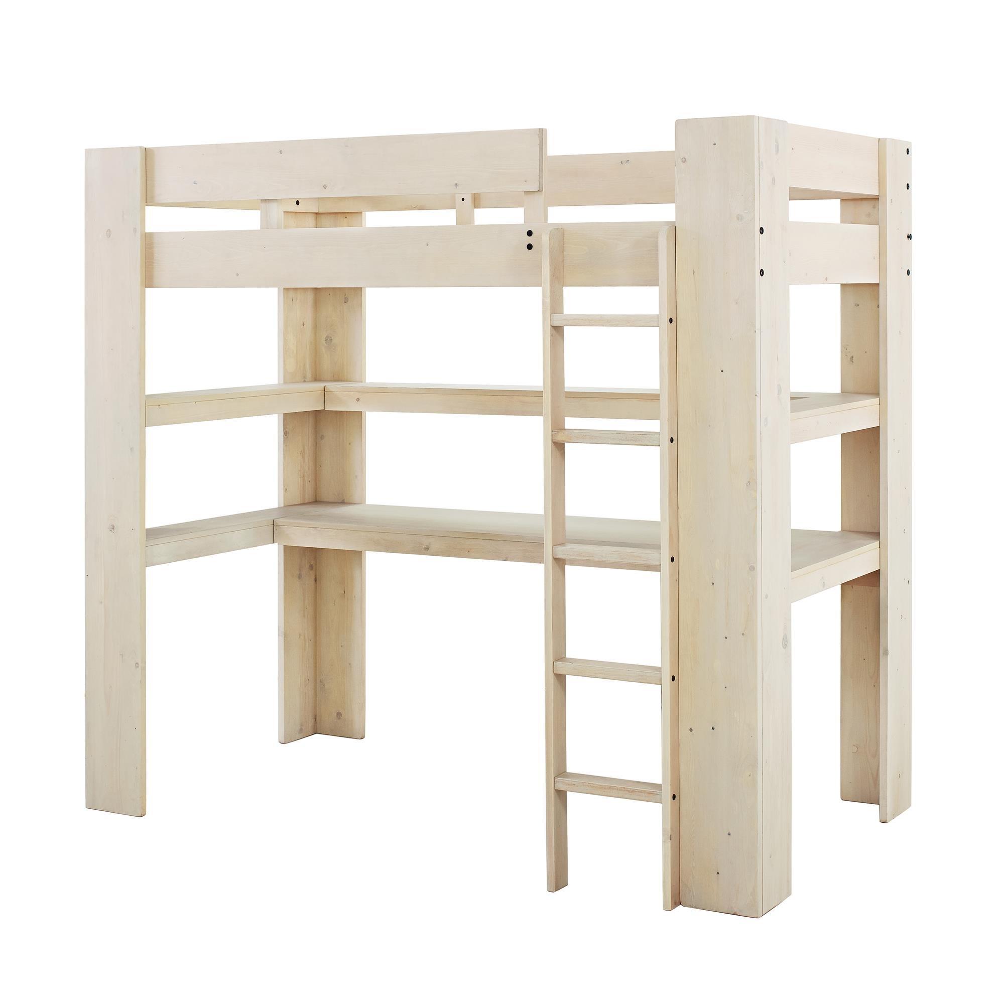 Dorel Living Baylee Loft Bed with Desk and Shelf, Natural Whitewash