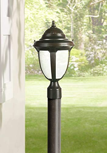 Casa Sorrento Traditional Outdoor Post Light Fixture Bronze 16 3 4 Marbleized Glass for Exterior House Deck Garden Yard Porch Driveway – John Timberland