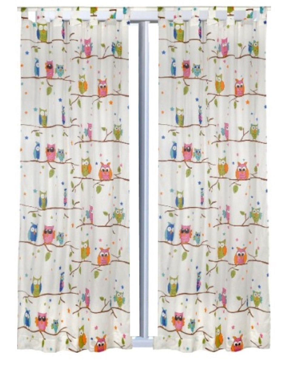 Trendprodukteshop - Set di 2 tende, 245 x 140 cm, motivo gufi
