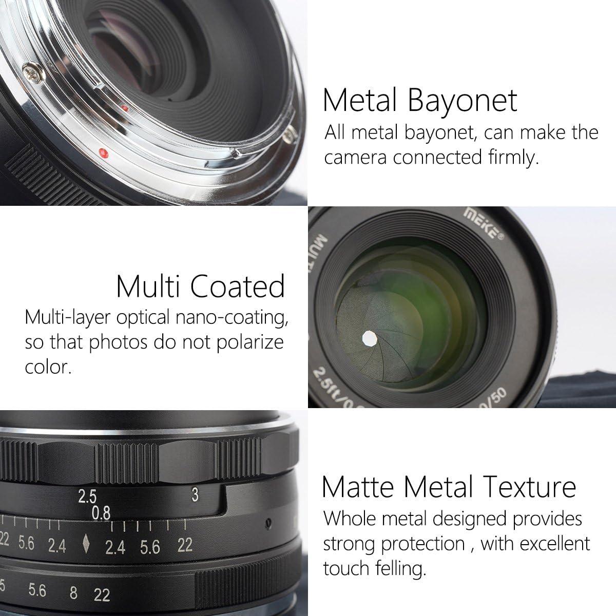 Meike MK-50mm F//2.0 Large Aperture Fixed Manual Focus Lens Work for APS-C Sony Cameras A6500 A6400 A6300 A6000 A6100 NEX3 NEX5 NEX6 NEX7 A5000 A5100