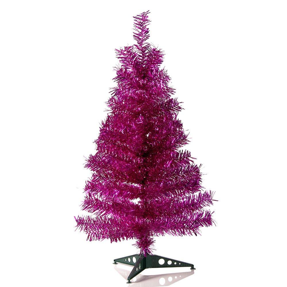 HAB & GUT (XM143 Albero di Natale artificiale/abete colorato FUCSIA metallizzato - Altezza: 90 cm