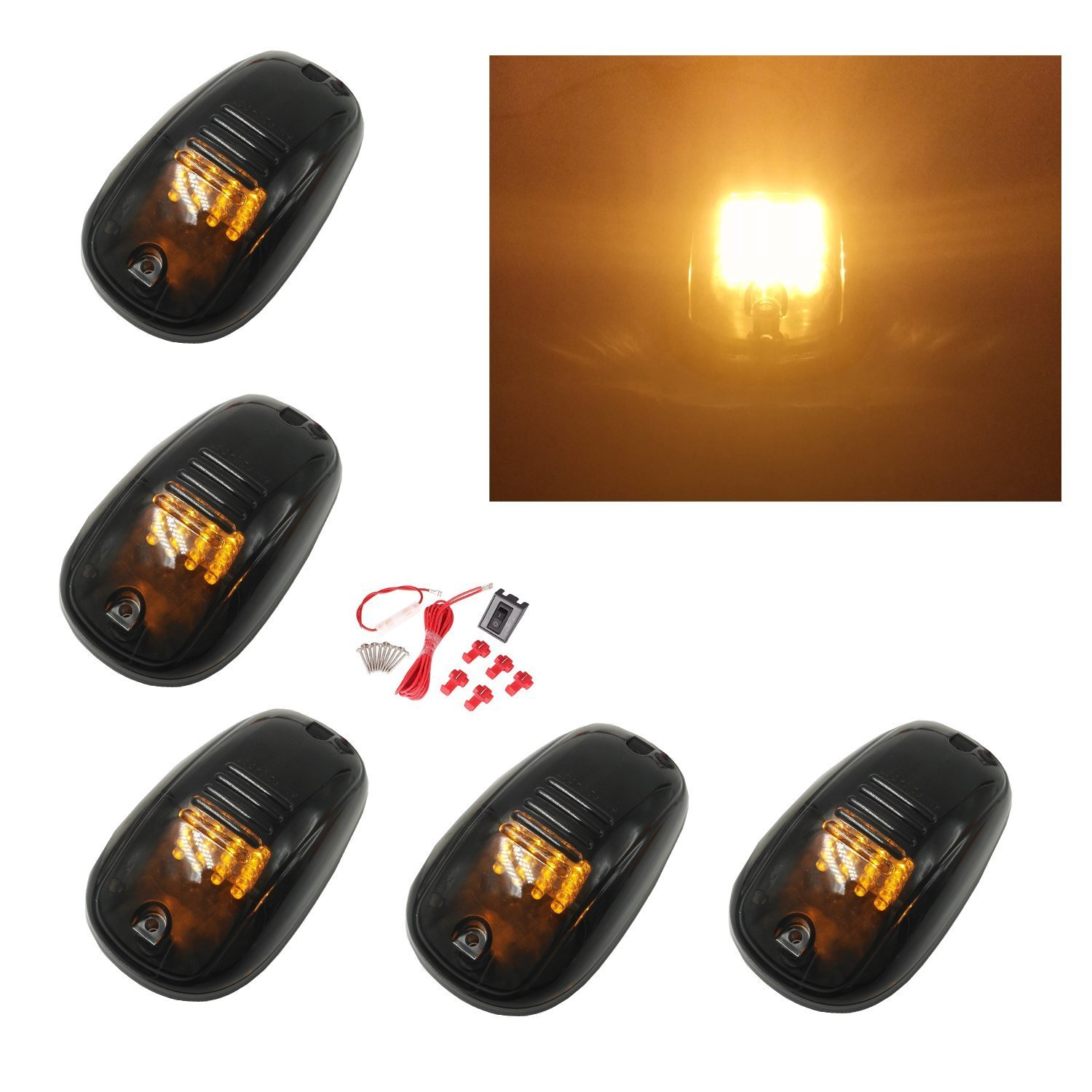 5pcs Black Smoked Lens 16 LED Cab Roof Marker Lights, KOMAS Roof Top Lamp Clearance Running Light Replacement + Switch Harness Kit for Truck SUV 2003-2016 Dodge Ram 1500 2500 3500 4500 (16 Amber LED)