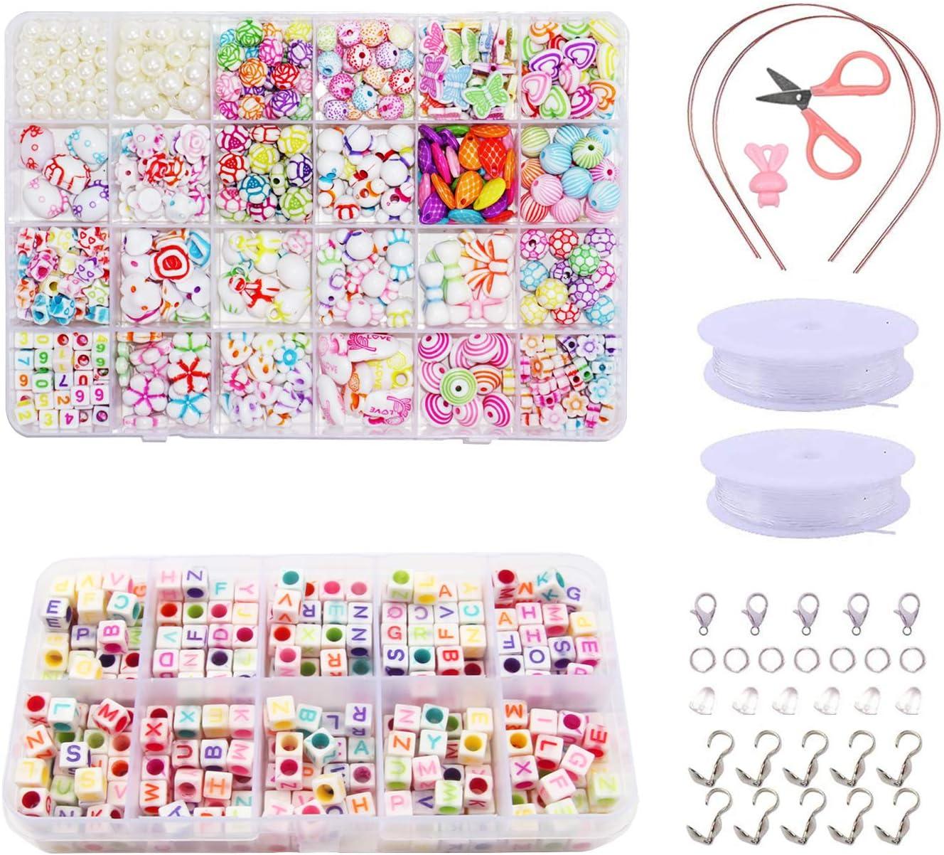 ZFYQ Bricolaje Conjunto de Cuentas de Niños, Cuentas Coloridas para Hacer Joyas para Niños Pulseras de Bricolaje Cuentas de Collares