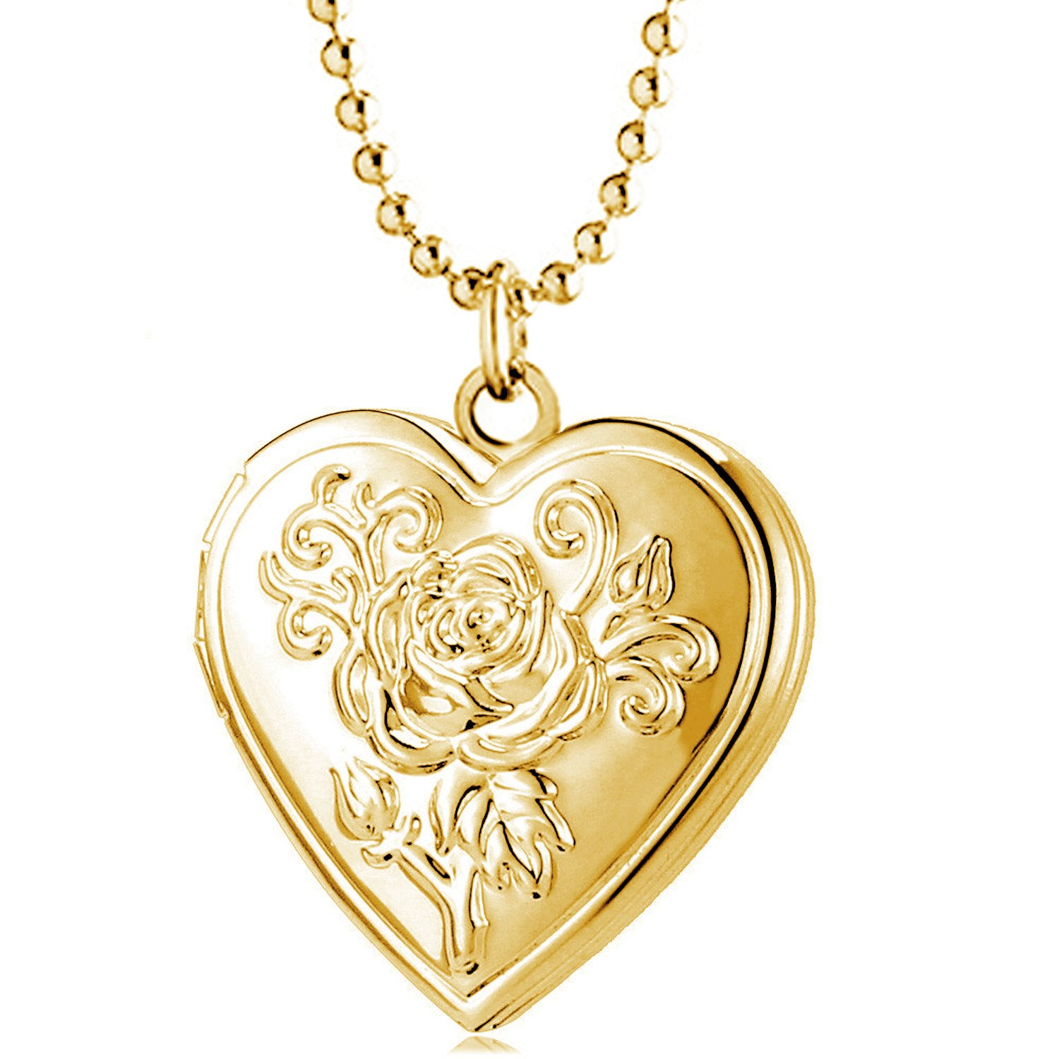 YOUFENG Love Heart Locket Necklace Pendant Locket Necklace That Holds Pictures Gifts for Women Girls Kids Jewelry HJFL05-J