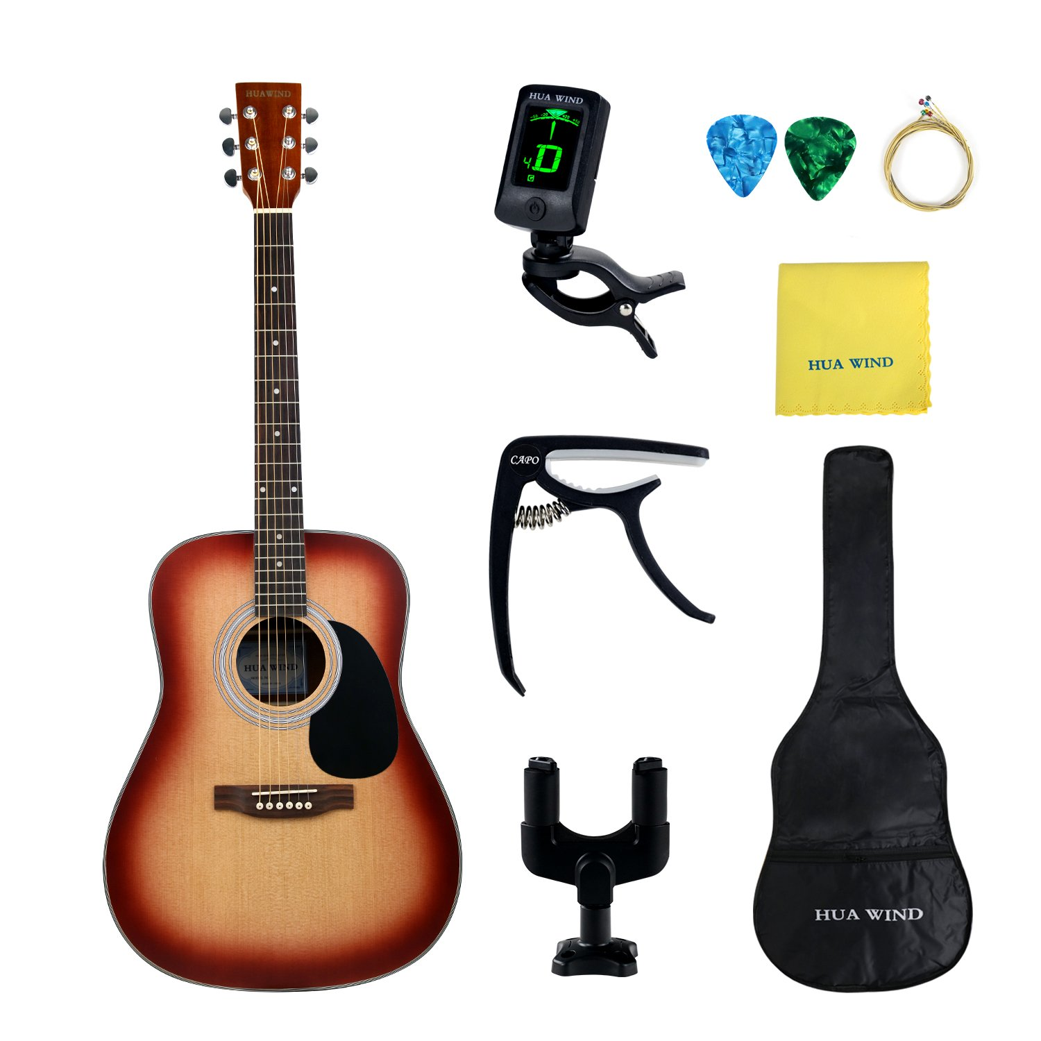 HUAWIND AcousticGuitarPackage 41inch Full Size 4/4 Spruce Top Guitar withGig Bag,Tuner,Capo,Steel String,Cleaning Cloth ,Picks,Guitar Hanger-Natural Spruce (Full Size Dreadnought)