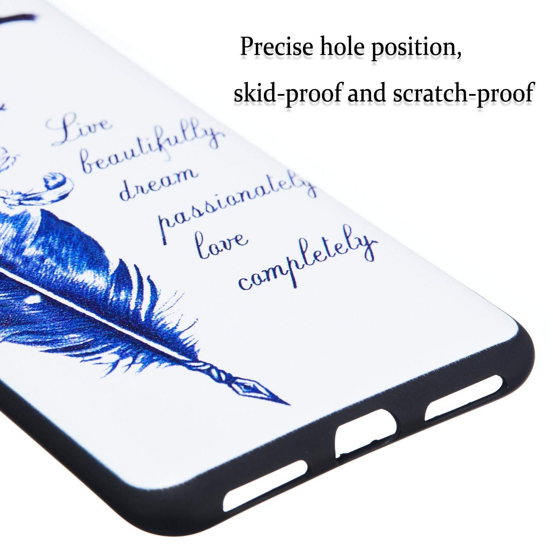 QC-EMART Cover per Xiaomi Redmi Note 6 PRO Custodia in Silicone Protettiva Posteriore Morbido Antiurto Nero Black Modello Carino Gomma TPU Cuscino Back Bumper Cellulari Guscio Custodie Bianca