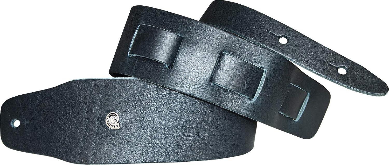 Etabeta Artigiano Toscano - Correa de piel para guitarra, diseño de toro, color negro, azul