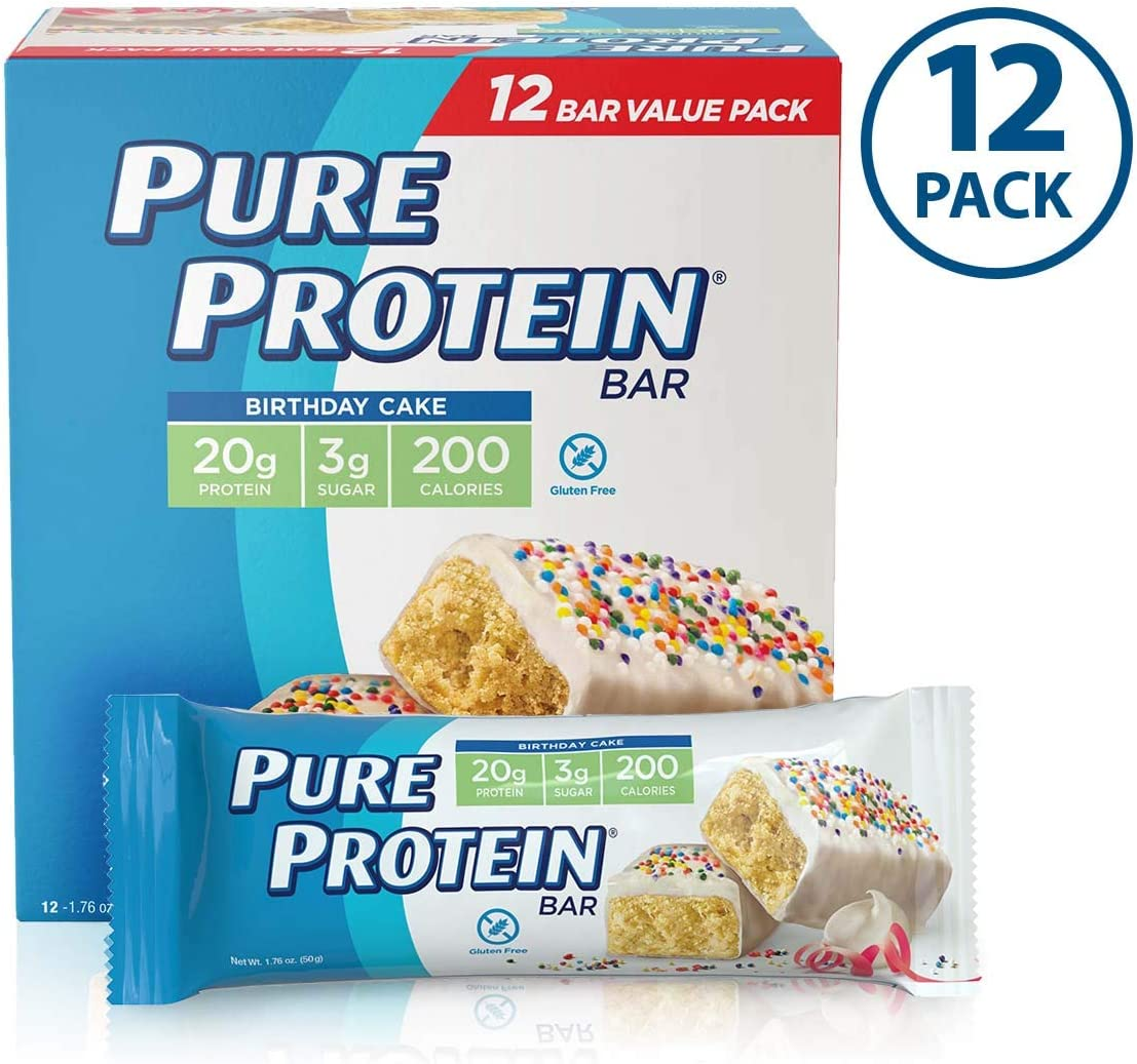 Pure Protein Bars, High Protein, Nutritious Snacks to Support Energy, Low Sugar, Gluten Free, Birthday Cake, 1.76 Ounce (Pack of 12)