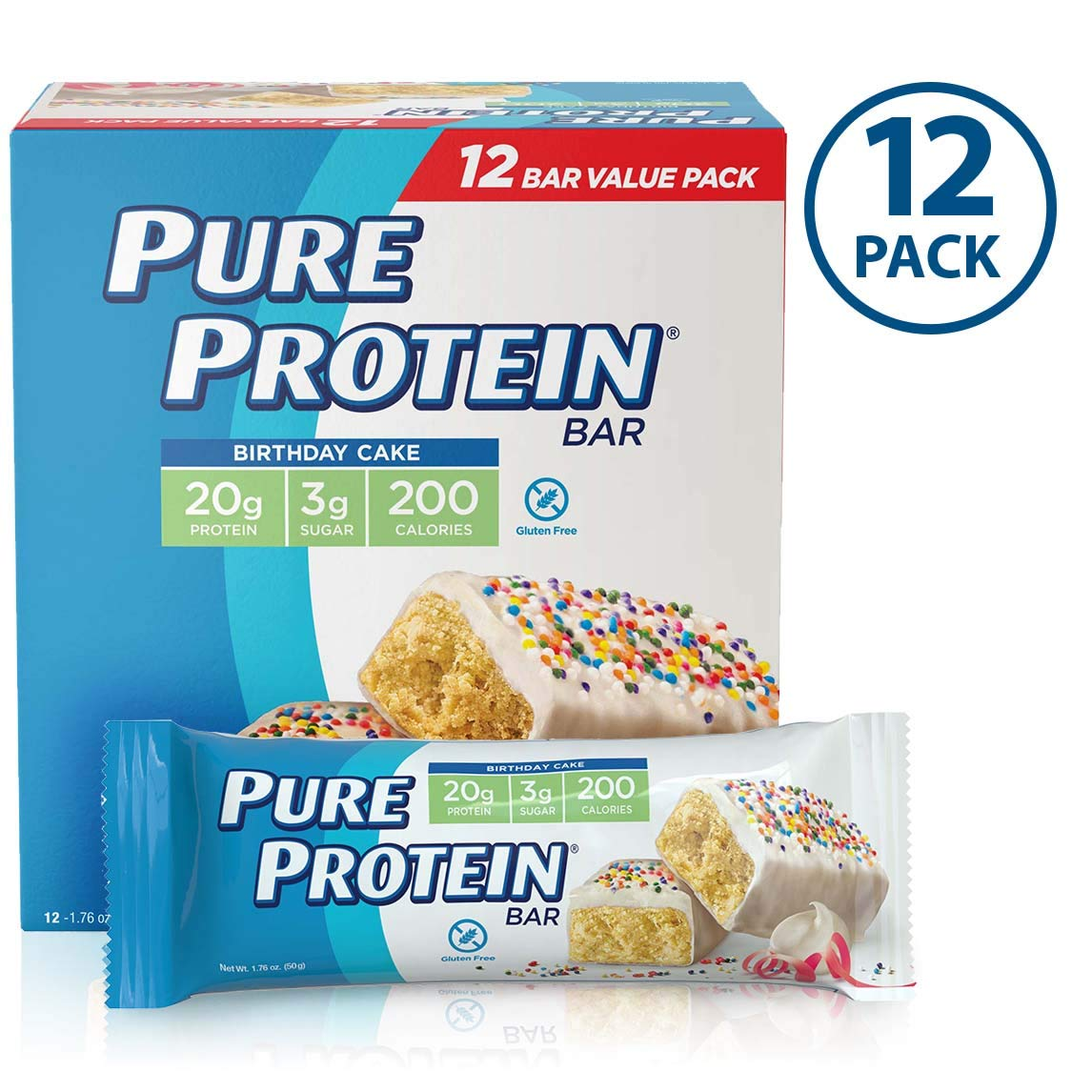 Pure Protein Bars, Birthday Cake, 1.76oz, 12 Pack by Pure Protein