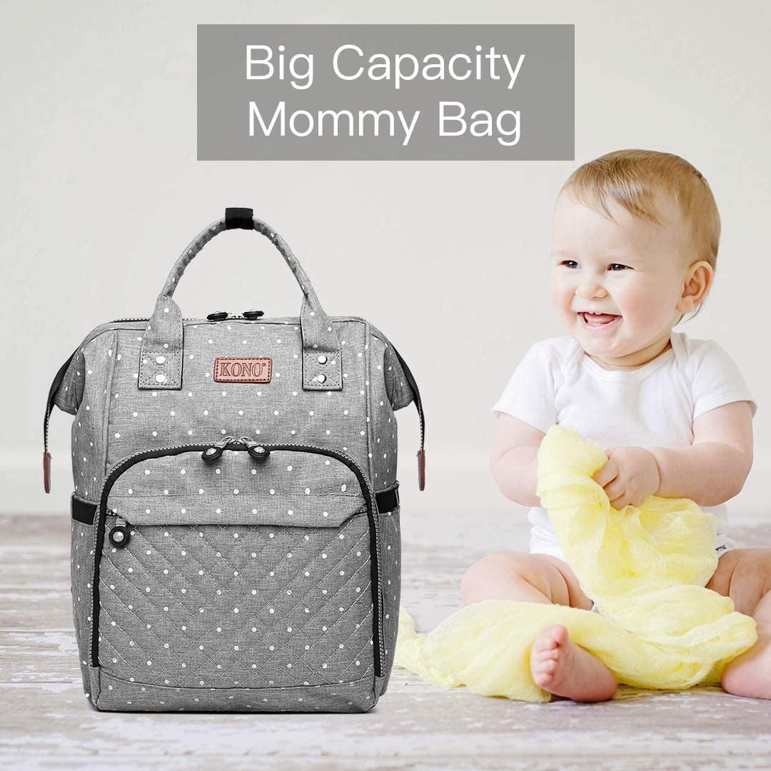 Kono Baby Changing Backpack Bag Multi-Function Large Capacity Waterproof Travel Diaper Rucksack Nappy Back Pack with 2 Stroller Straps
