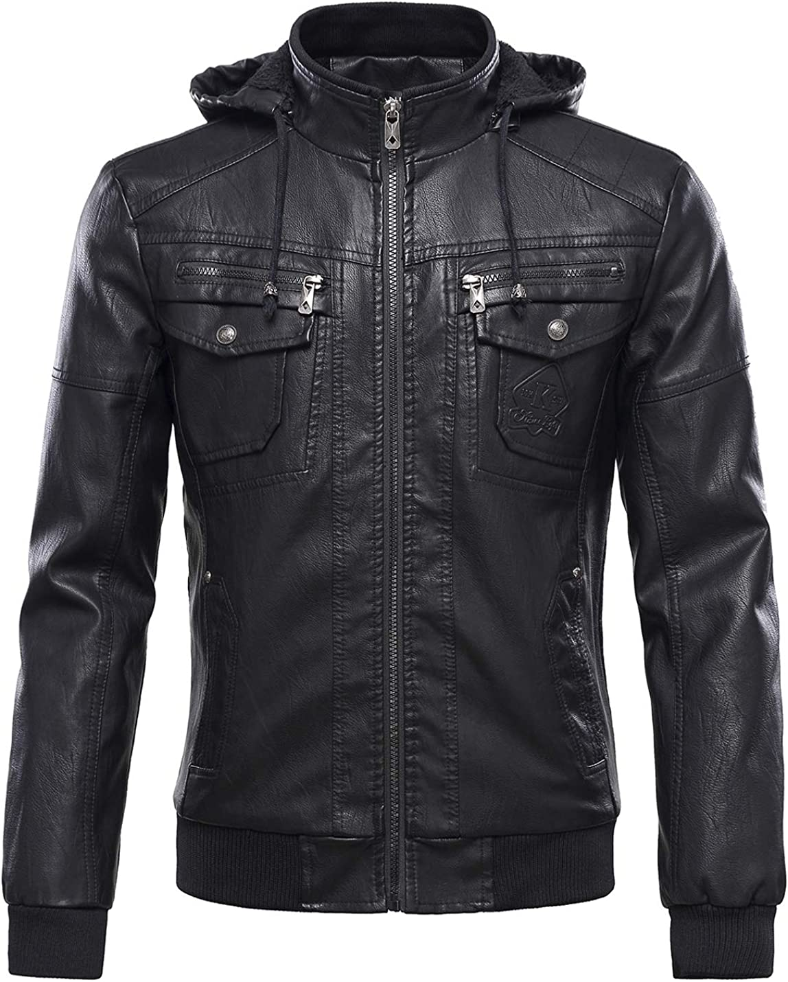 Mens New PU Leather Jacket Biker with Warm Detachable Hood Black Size S M L