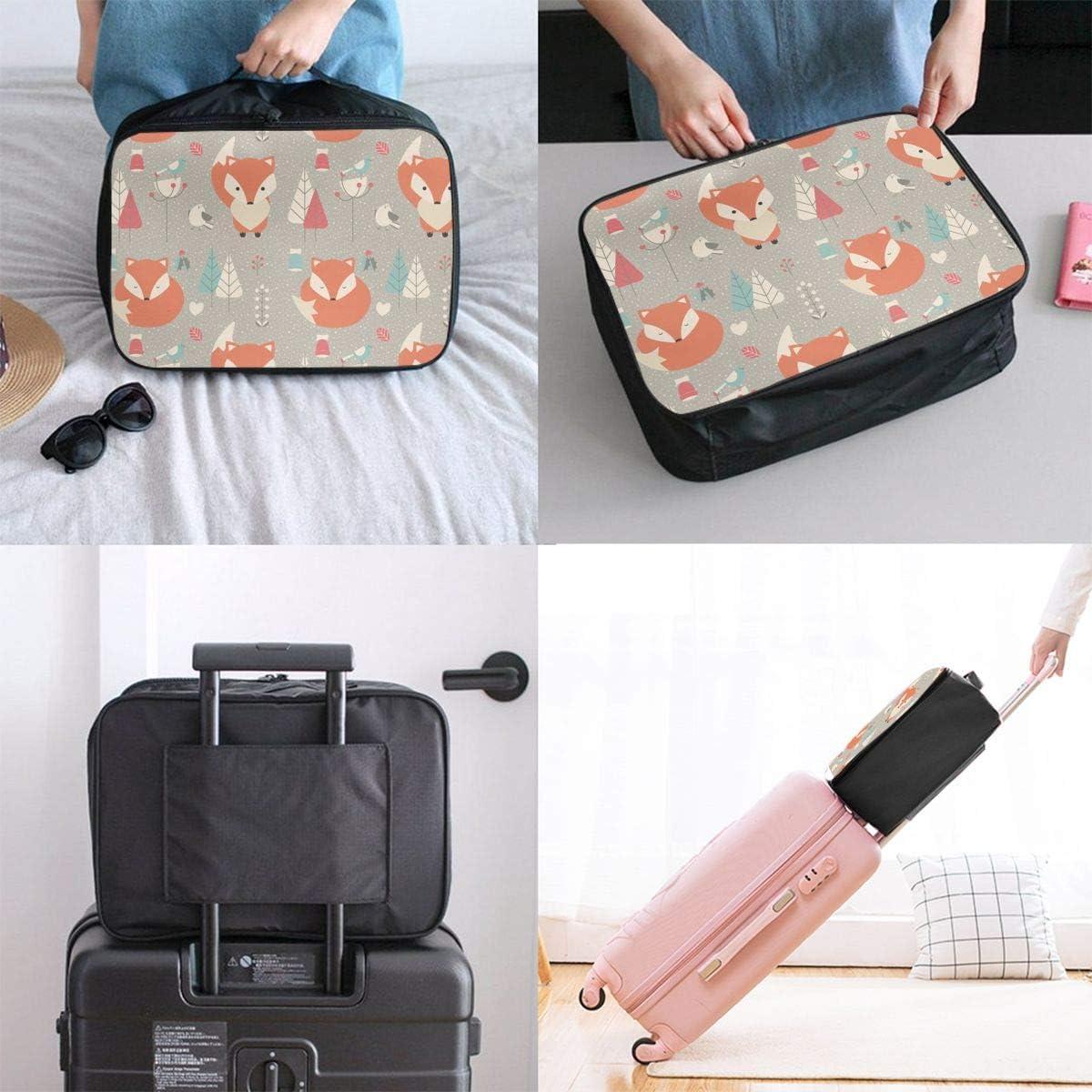 Fox Trees Travel Carry-on Luggage Weekender Bag Overnight Tote Flight Duffel In Trolley Handle
