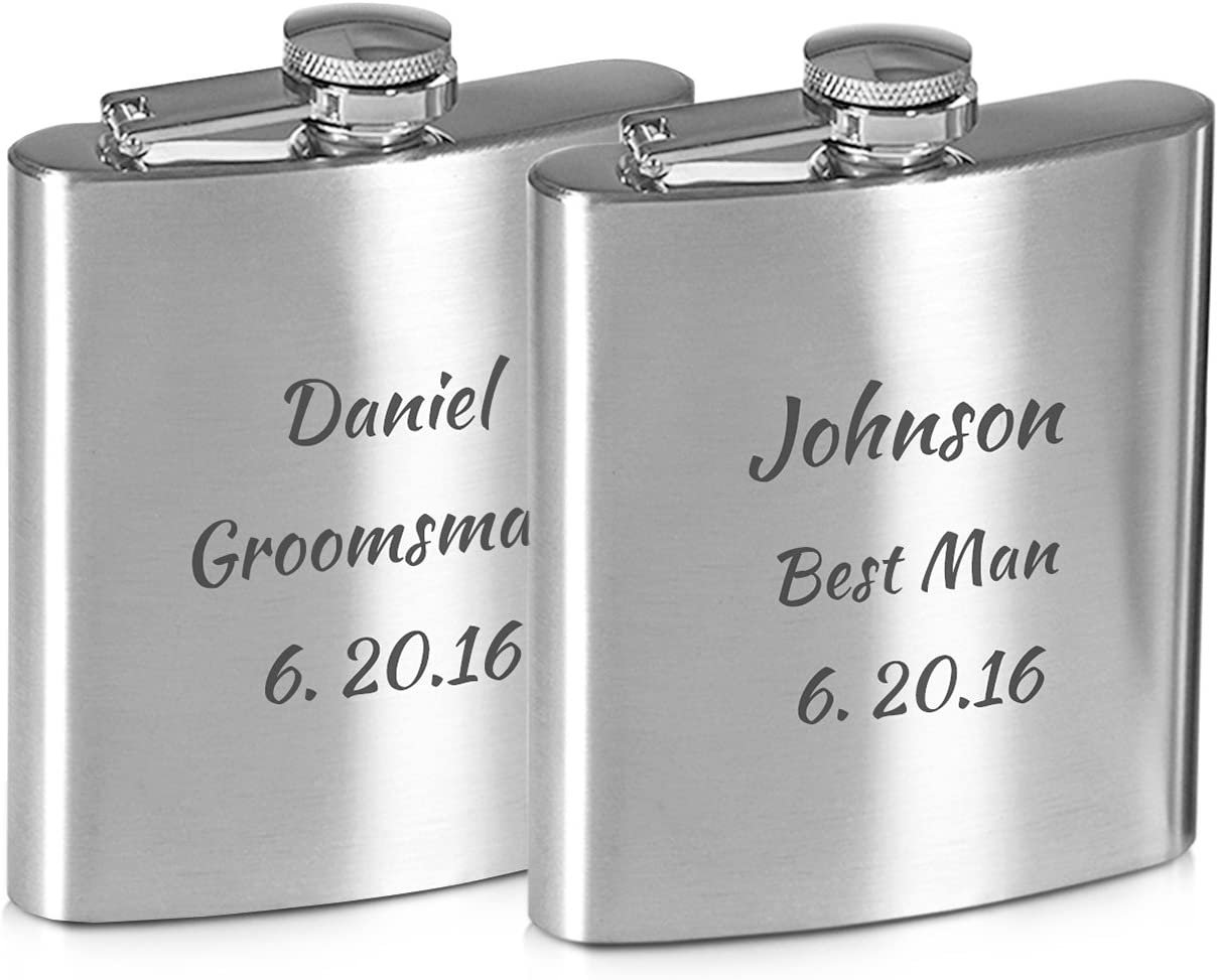 6 Flask Key Chains  2 oz Stainless Steel  with Free Engraving Lot of 6