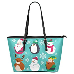 CASECOCO Santa Snowman Penguin Snowflake Christmas PU Leather Shoulder Tote Bag Purse