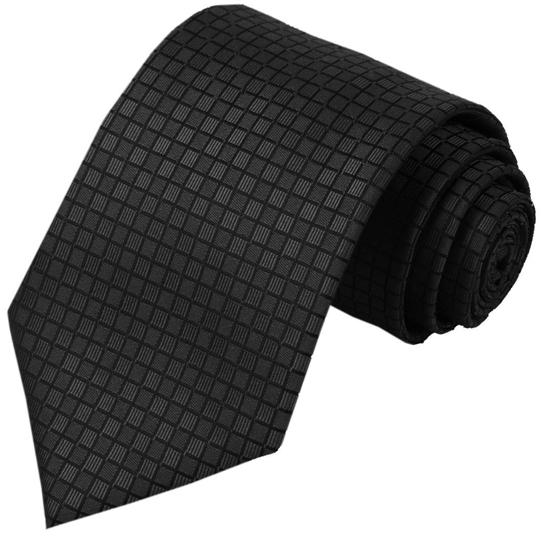 KissTies Mens Extra Long Tie Black Solid Tall Man Necktie + Gift Box (63'' XL)