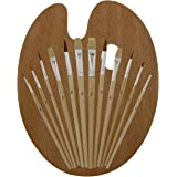 US Art Supply 12 Piece Brush Set with 9 x 12 inch Wood Palette
