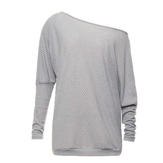 Longra Off Hombro Pullover Top Pullover Batwing Camisetas de Manga Larga☚☚: Amazon.es: Ropa y accesorios