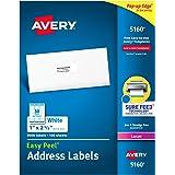 Avery Easy Peel Address Labels for Laser Printer, 1 x 2-5/8, White, 3000 per Box (5160)