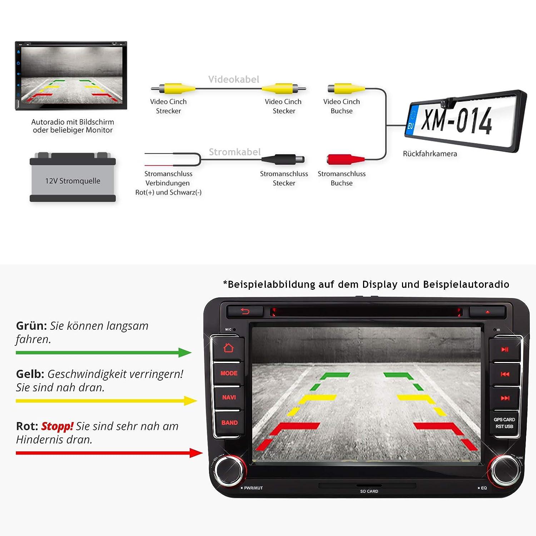 Resoluci/ón: 648 x 488 p/íxeles 170/° /ángulo de visi/ón de /ángulo de color CMD Sensor XOMAX XM-014 color-c/ámara de marcha atr/ás de placa//soporte de matr/ícula y visi/ón nocturna//LED luces