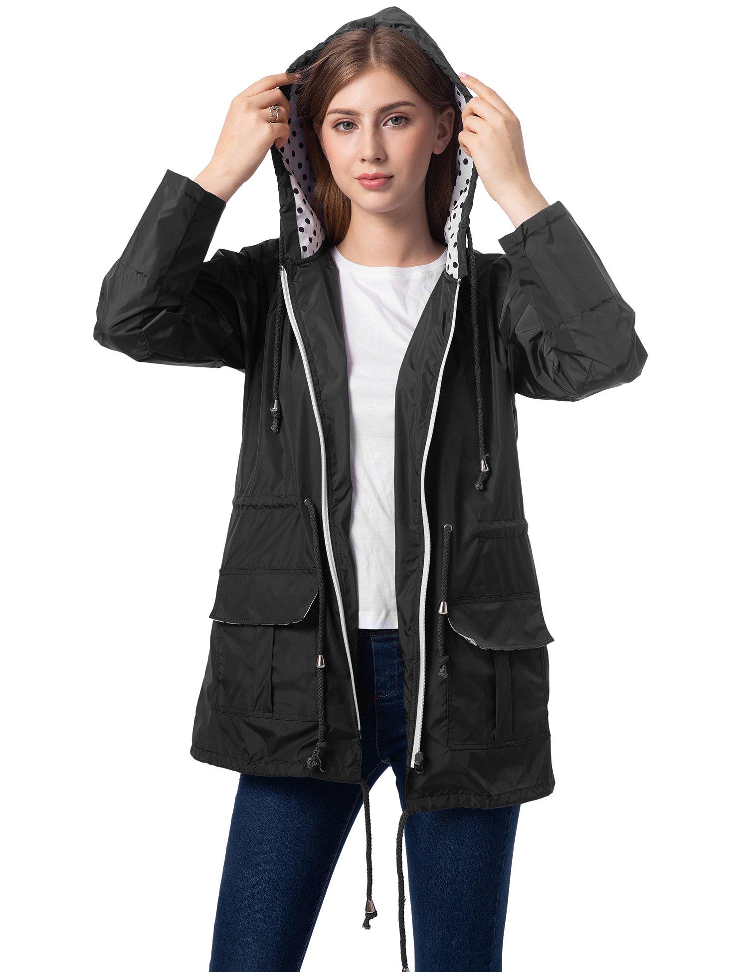 Romanstii Light Rain Jacket Women Trench Coat with Hoodie Waterproof Sport Active Jackets Black L