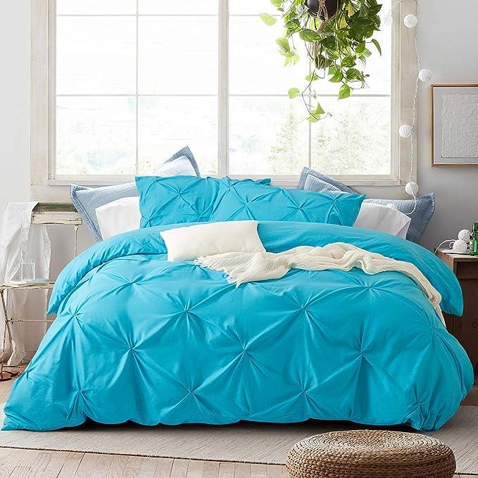 3PCS Pintuck Soft Duvet Sets Pinch Pleat Bedding Quilt Cover Zipper Closure Soft