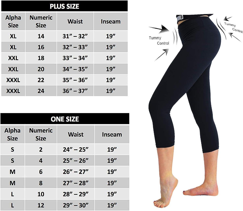 Soft Tummy Control Slim Exercise Pants for Yoga Workout TNNZEET High Waisted Capri Leggings for Women Regular /& Plus Size