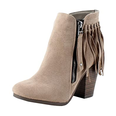941749ceadd70 Breckelle's Womens Almond Toe High Chunky Heel Tassel Fringe Ankle Bootie  Boot
