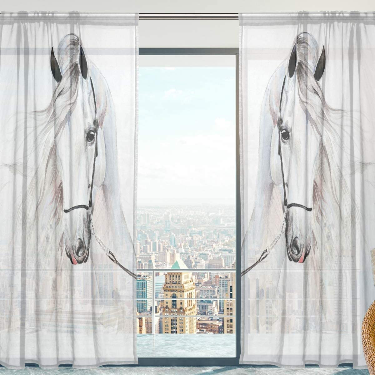 senya Sheer Voile Curtains, White Horse Soft Sheer Curtains for Bedroom Living Room 84 Inches Long 2 Panels