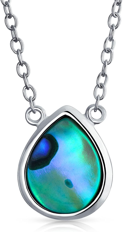 FREE GIFT BOX Rainbow Abalone Women 925 Sterling Silver Pendant